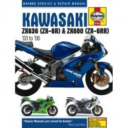 Kawasaki ZX-6R 2003 - 2006 ZX600M (ZX-6RR)  599cc 2004 ZX600N (ZX-6RR)  599cc 05 - 06 ZX636B (ZX-6R)   636cc 03 - 0